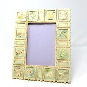 VINTAGE Garden Animal Sand Stamp 5x7 Picture Frame